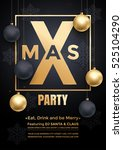 party poster merry christmas... | Shutterstock .eps vector #525104290