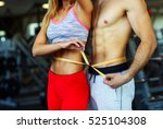 happy athletic couple   man and ... | Shutterstock . vector #525104308