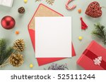 red envelope on christmas... | Shutterstock . vector #525111244
