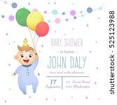 baby shower invitation card... | Shutterstock .eps vector #525123988