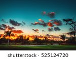 golf course in the countryside  ... | Shutterstock . vector #525124720