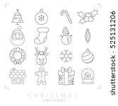 Thin Line Christmas Icons Set....