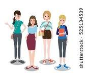 cute cartoon girls in autumn...   Shutterstock .eps vector #525134539