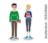 vector illustration of students ... | Shutterstock .eps vector #525135064