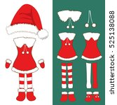 santa pompom hat and woman... | Shutterstock .eps vector #525138088