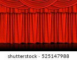 red curtains and wooden stage... | Shutterstock . vector #525147988