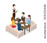 in restaurant waiter with... | Shutterstock .eps vector #525152440