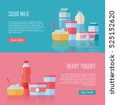 sour milk and berry yogurt... | Shutterstock .eps vector #525152620