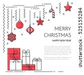 christmas and new year banner... | Shutterstock .eps vector #525155284