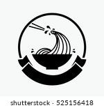 noodle wave in bowl with... | Shutterstock .eps vector #525156418