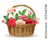 beautiful flowers basket... | Shutterstock .eps vector #525166708