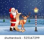 santa claus reading a long list ... | Shutterstock . vector #525167299