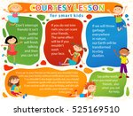 Vector brochure backgrounds with cartoon children. Infographic template design. Courtesy lesson for children rights to the banner advertisement for children illustration | Shutterstock vector #525169510