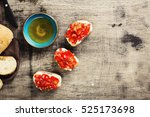 bruschetta with tomatoes and...   Shutterstock . vector #525173698