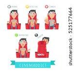 films genres. man in 3d stereo... | Shutterstock .eps vector #525177664