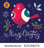 christmas illustration with... | Shutterstock .eps vector #525198274