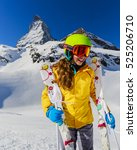 teenage girl skiing in swiss... | Shutterstock . vector #525206710