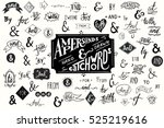 big collection of hand lettered ... | Shutterstock .eps vector #525219616