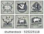 Six Square Hunting Posters Set...