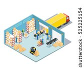 warehouse isometric composition ... | Shutterstock .eps vector #525225154