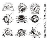 set of nine isolated monochrome ... | Shutterstock .eps vector #525225250