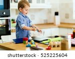 cute child learning to become a ... | Shutterstock . vector #525225604