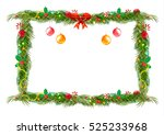 bow borders fir tree branches... | Shutterstock .eps vector #525233968
