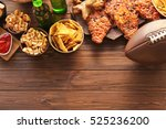 tasty snacks and rugby ball on... | Shutterstock . vector #525236200