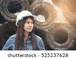 beautiful woman engineer wear... | Shutterstock . vector #525237628