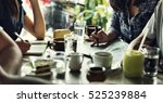 group of people drinking coffee ... | Shutterstock . vector #525239884