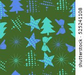 seamless pattern of christmas... | Shutterstock . vector #525241108