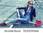 young stylish hipster woman... | Shutterstock . vector #525254566