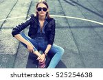 young stylish hipster woman... | Shutterstock . vector #525254638