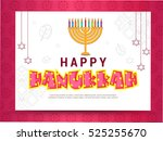 happy hanukkah greeting card. | Shutterstock .eps vector #525255670
