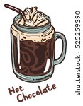 hot chocolate with whipped... | Shutterstock .eps vector #525259390