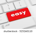 keyboard with easy button  3d... | Shutterstock . vector #525260110