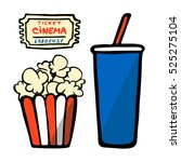 box with popcorn  paper cup... | Shutterstock .eps vector #525275104
