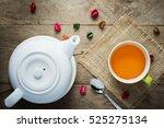 white tea pot ceramic and green ...   Shutterstock . vector #525275134