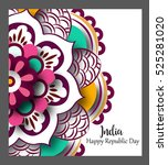 floral mandala pattern and... | Shutterstock .eps vector #525281020