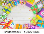 colored gift boxes with... | Shutterstock . vector #525297838