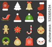christmas icon  ornaments and... | Shutterstock .eps vector #525305254