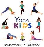 yoga for kids. asanas. set of... | Shutterstock .eps vector #525305929