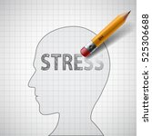 human head with the word stress.... | Shutterstock .eps vector #525306688
