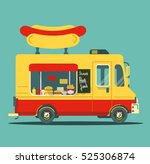 flat fast food car with a big... | Shutterstock .eps vector #525306874