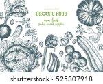 vegetables top view frame.... | Shutterstock .eps vector #525307918