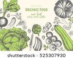 vegetables top view frame with... | Shutterstock .eps vector #525307930