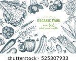 vegetables top view frame.... | Shutterstock .eps vector #525307933