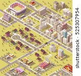 vector isometric low poly city... | Shutterstock .eps vector #525307954