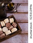 brown and beige macaroon on a... | Shutterstock . vector #525313996