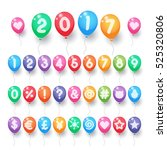colorful numbers and symbols... | Shutterstock .eps vector #525320806